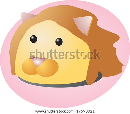 Cartoon head of a lion, cute animal illustration