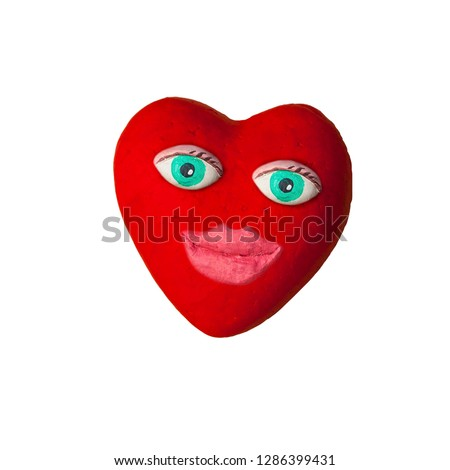 Cartoon heart with eyes and lips. On Valentine's day #1286399431