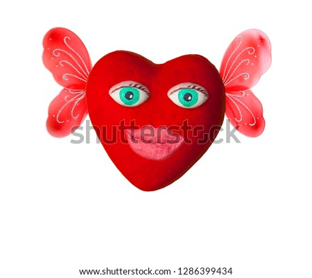 Cartoon heart with eyes and lips. On Valentine's day #1286399434
