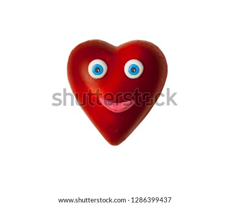 Cartoon heart with eyes and lips. On Valentine's day #1286399437