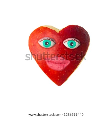 Cartoon heart with eyes and lips. On Valentine's day #1286399440