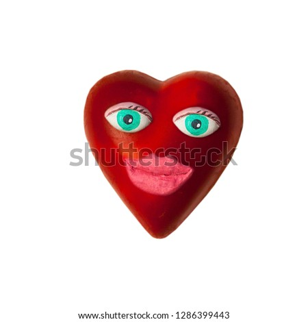 Cartoon heart with eyes and lips. On Valentine's day #1286399443