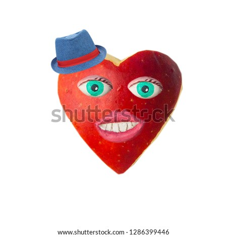 Cartoon heart with eyes and lips. On Valentine's day #1286399446