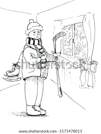 Cartoon hockey player. Cute kid in the room. Winter sport illustration for children. Cute white and black illustration for coloring.