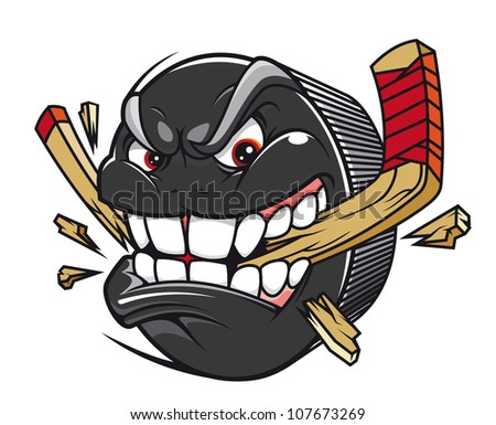 Cartoon hockey puck bites and breaks hockey stick, such a logo. Vector version also available in gallery