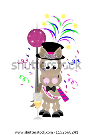 cartoon horse celebrating new years eve wearing a top hat bow tie and sash