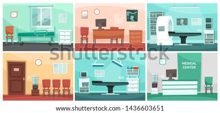 Cartoon hospital room. Medical interiors, doctor office and surgery clinic or hospitals empty waiting room interior. Patient hospitalization reception, clinical consultation rooms  illustration