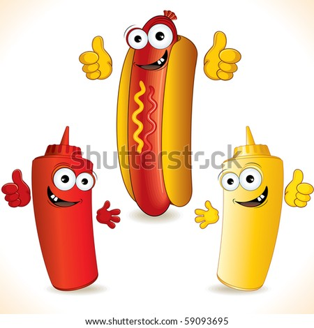Cartoon Hot dog with friends (id=58241581 vector)