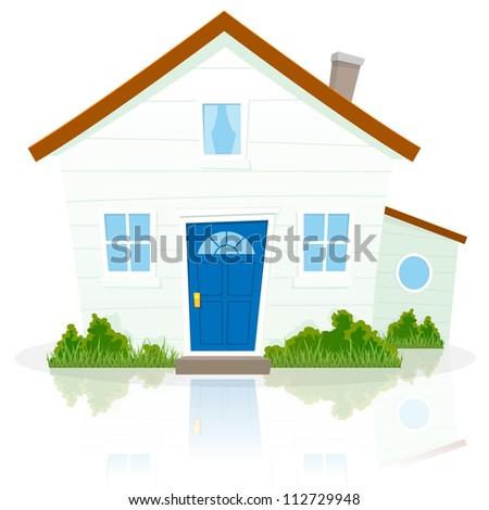 Cartoon House Illustration of a cartoon simple house on white background with reflect on the ground