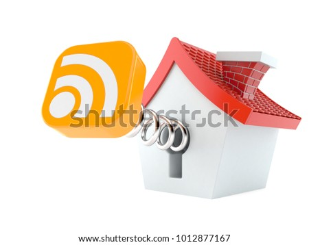 Cartoon house with RSS icon isolated on white background. 3d illustration