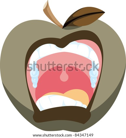Cartoon icon of a screaming apple in a bad mood.