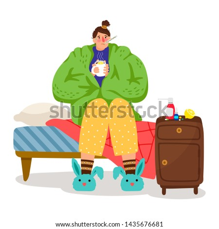 Cartoon ill woman. Sick female person with cold and flu, girl with heat illness, medications and headache illustration