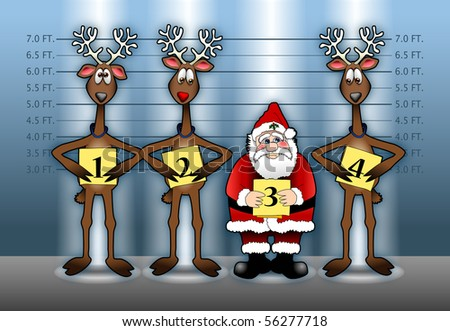 Cartoon illustration depicting Santa Claus and his reindeer in a police line-up