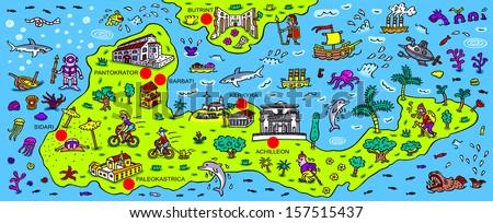 Greek Map Corfu of The Greek Island Corfu