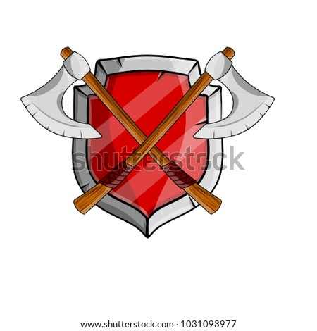 cartoon illustration middle ages weapons heraldic coat of arms