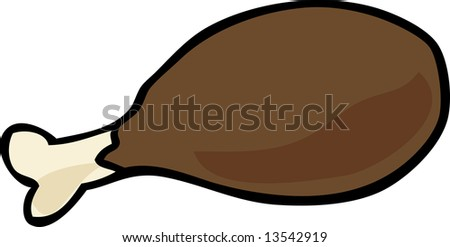 Cartoon Illustration Of A Cooked Chicken Drumstick ...