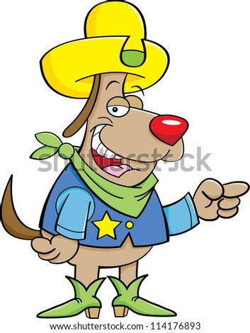 Cartoon illustration of a dog dressed as a cowboy