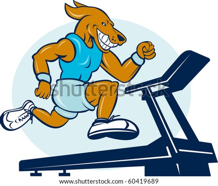 cartoon illustration of a Dog running on tread mill isolated on white background