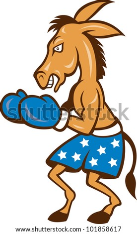 Cartoon illustration of a donkey jackass boxer with boxing gloves and stars shorts as democrat mascot.