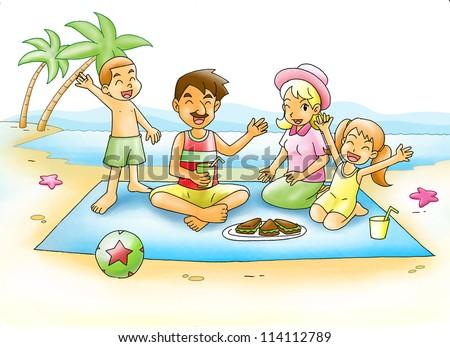 Cartoon Illustration Of A Family Having A Picnic At The ...