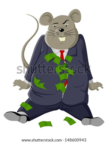 Cartoon illustration of a fat rat with lots of money