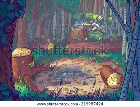 Cartoon Illustration of a forest clearing scene with felled trees and logs and a stream or river in the background.