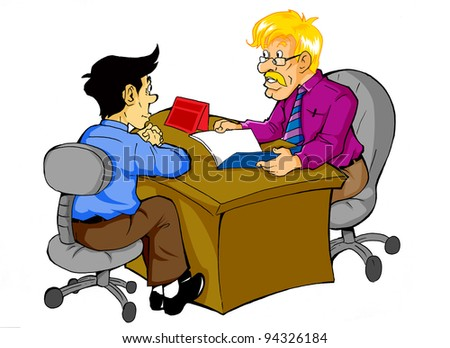 Cartoon illustration of a man being interviewed