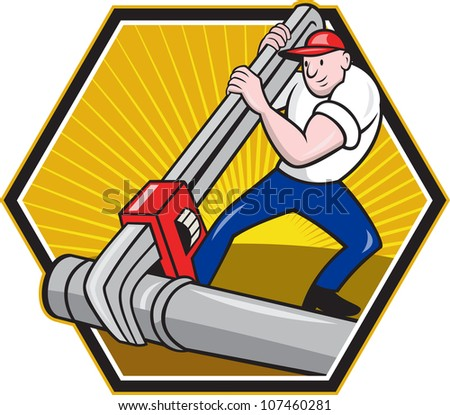 Cartoon illustration of a plumber worker repairman tradesman with adjustable monkey wrench repairing pipeline tubing pipes set inside hexagon.