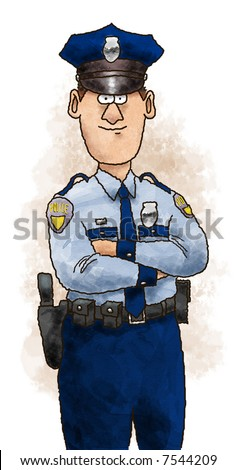 Cartoon Illustration of a police officer standing in uniform with arms folded