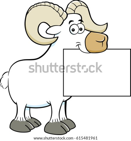 Cartoon illustration of a ram holding a sign.