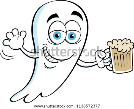 Cartoon illustration of a smiling ghost holding a beer.