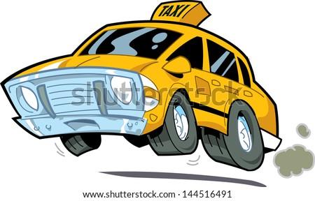Cartoon Illustration of a Speeding New York City Taxi