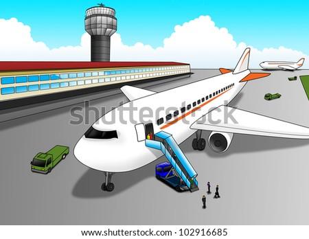 Cartoon illustration of an Airport Cartoon Images