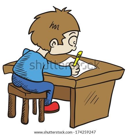 See that boy doing homework in homeroom