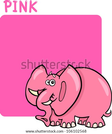 Cartoon Illustration of Color Pink and Elephant