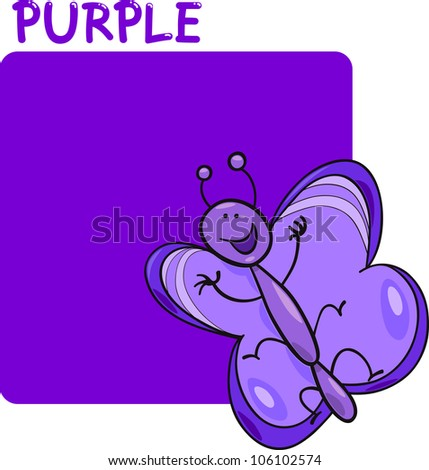 Cartoon Illustration of Color Purple and Butterfly