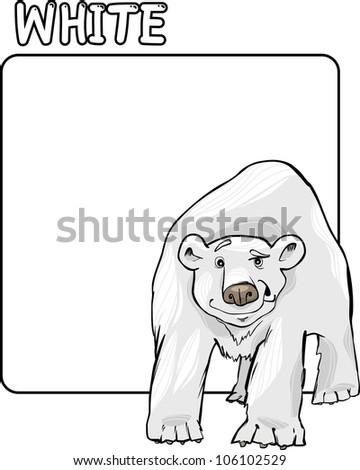 Cartoon Illustration of Color White and Polar Bear
