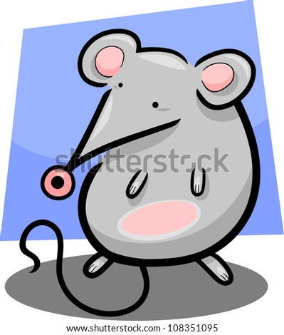 cartoon illustration of cute little gray mouse