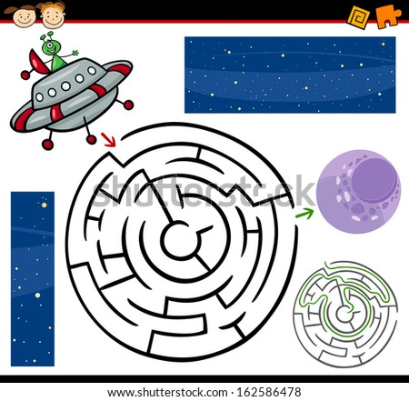 Cartoon Illustration of Education Maze or Labyrinth Game for Preschool Children with Funny Alien Character and Space - stock photo