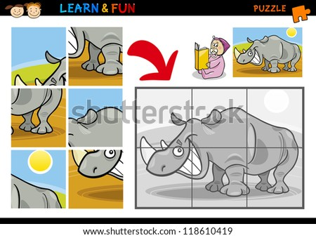 Cartoon Illustration of Education Puzzle Game for Preschool Children with Funny Rhino or Rhinoceros Animal