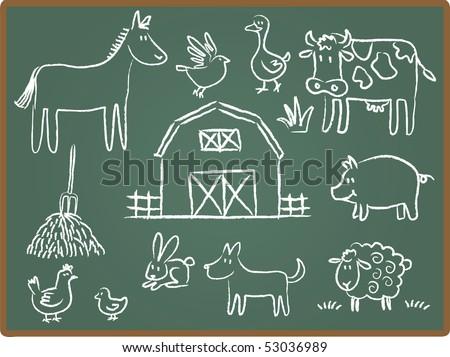 Cartoon Illustration of farm animal on Chalkboard