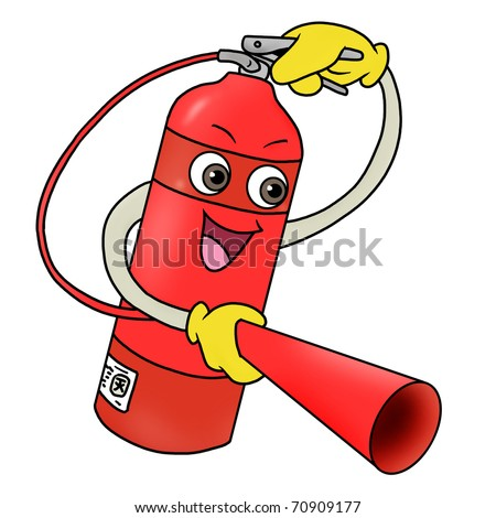 Cartoon illustration of fire extinguisher icon