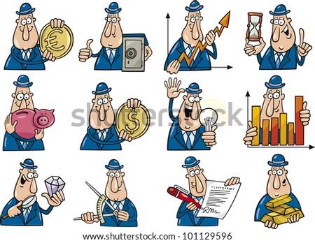 cartoon illustration of funny businessmen collection set