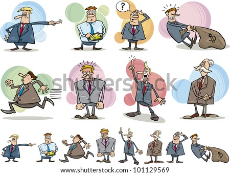 cartoon illustration of funny businessmen in different situations