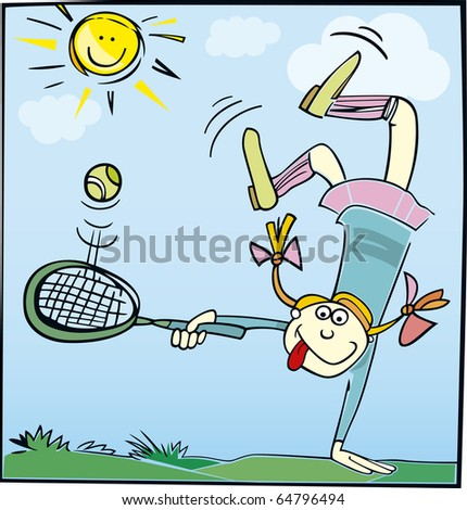 stock photo : Cartoon illustration of funny little girl playing tennis