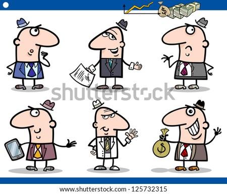 Cartoon Illustration of Funny Men or Businessmen Characters Set