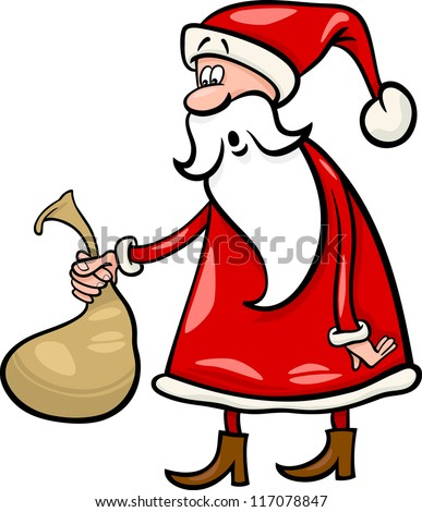 Cartoon Illustration of Funny Santa Claus or Papa Noel holding Very Small Sack with Christmas Presents