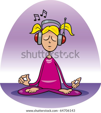 stock photo : Cartoon illustration of girl listening to the music and