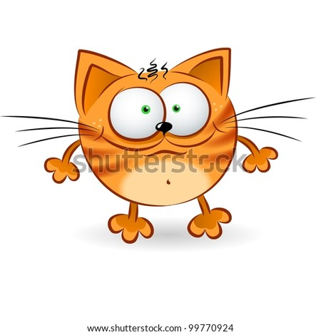 Cartoon illustration of Happy Red Cat on white