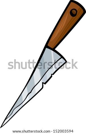 Cartoon Illustration of Kitchen Knife Clip Art